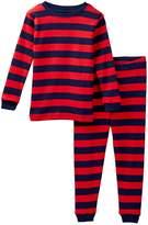Leveret Red Navy Striped Pajama Set (Toddler & Little Boys)