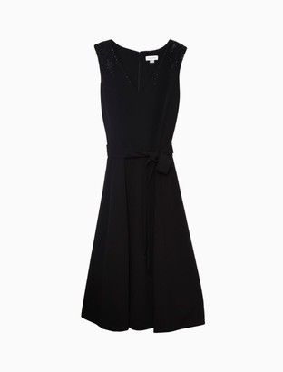 Calvin Klein Plus Size Embellished Belted Fit + Flare Dress