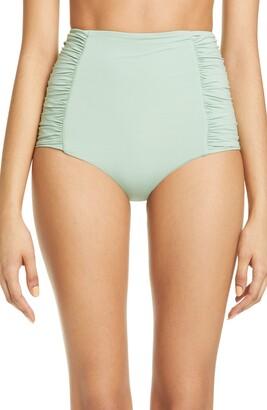 Johanna Ortiz Ruched High Waist Bikini Bottoms