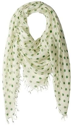 Chan Luu Cashmere Silk Large Polka Dots Scarf (Verdant Green) Scarves