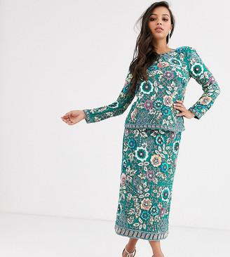 Asos Edition EDITION Petite floral embellished midi pencil skirt-Multi