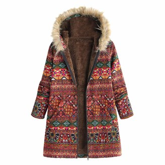 Xmiral Women Vintage Oversize Coats Cardigan Plaid Floral Print Hooded Pockets Outwear (M