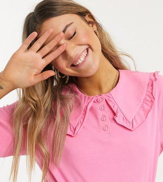 Monki Magnhild organic cotton oversized collar t-shirt in pink