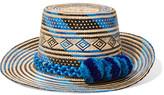 Yosuzi Pompom-embellished Woven Straw Sunhat - Blue