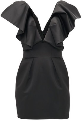 Alexandre Vauthier Ruffled Plunge-neck Satin Mini Dress - Womens - Black