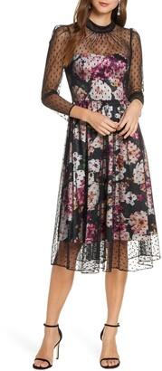 Eliza J Floral Illusion Cocktail Dress