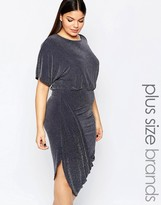 Club L Plus Wrap Dress With Rouched Skirt In Glitter Fabric