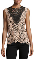 Nanette Lepore Sleeveless Colorblock Lace Top, Desert Rose