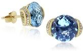 Effy Jewelry Effy 14K Yellow Gold Blue Topaz and Diamond Earrings, 7.13 TCW