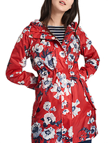 Joules Right as Rain Golightly Pack Away Waterproof Parka, Red Posy