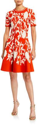 Oscar de la Renta Floral Print Crepe Short-Sleeve Dress
