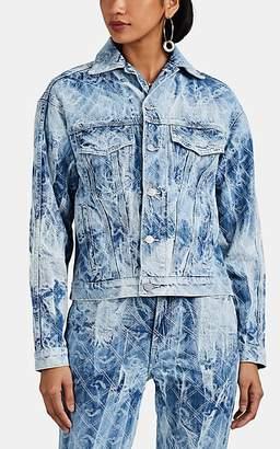Jordache Women's Logo Tie-Dyed Denim Trucker Jacket