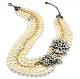 Ben-Amun Multi Strand Pearl Necklace with Side Crystal Brooches