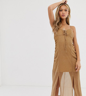 N. ebonie ivory midi slip dress with tie front and RUCHED front in sparkle