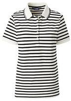Lands' End Women's Tall Pique Polo Shirt-Ivory/Black Stripe