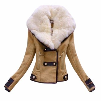 Jiegorge Women's Coat Winter Lady Womens Warm Faux Splice Zipper Coat Jacket Outerwear