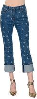 Valentino Star-Print Deep-Cuff Cropped Jeans, Blue