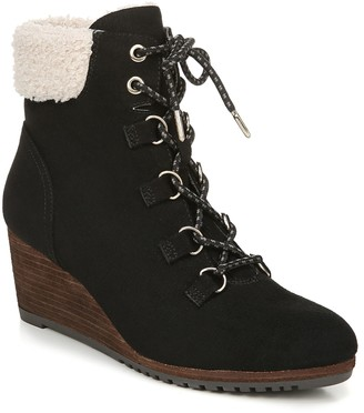 Dr. Scholl's Faux Fur Lace-Up Wedge Booties - Charmer