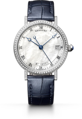 Breguet Classique 33.5mm 18k White Gold Diamond Watch w/ Alligator Strap
