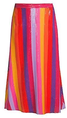 Olivia Rubin Women's Penelope Rainbow Stripe Sequin Midi Skirt - Size 0