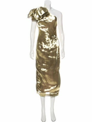 Maria Lucia Hohan Metallic One-Shoulder Dress Gold