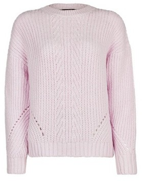 Dorothy Perkins Womens Lilac Pointelle Stitch Jumper