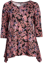 Glam Black & Pink Paisley Sidetail Top - Plus