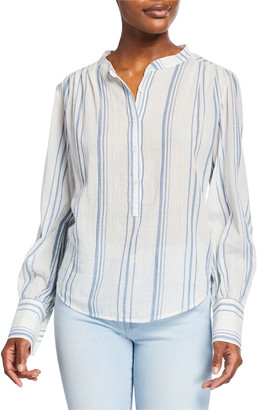 Frame Striped Button-Front Long-Sleeve Gauze Top