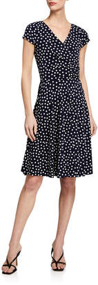 Maggy London Dot Print Faux-Wrap Dress