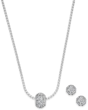 Charter Club Pave Ball Pendant Necklace and Stud Earrings Set, Created for Macy's