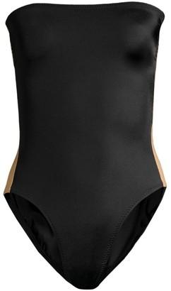 Norma Kamali Side Stripe Strapless One-Piece Swimsuit