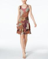 MSK Printed Drop-Waist Tiered Dress