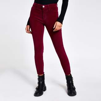 River Island Womens Dark Red corduroy Molly jeggings