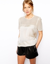 Asos Top with Mesh Panel - Cream