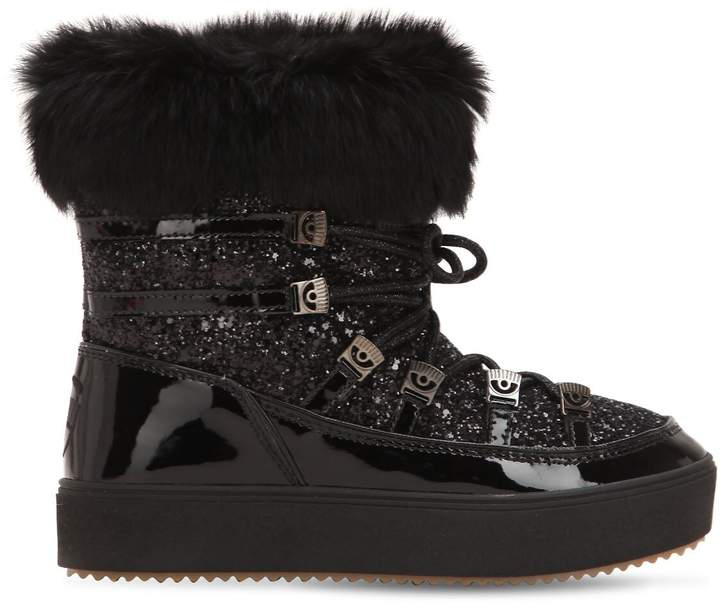 Chiara Ferragni 30mm Glittered Snow Boots W/ Lapin Fur