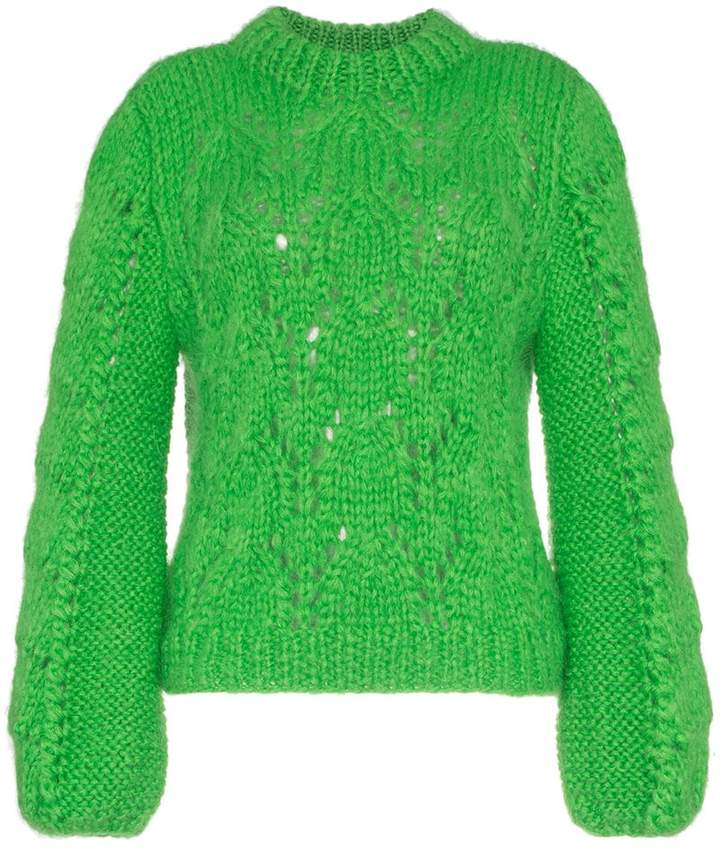 Ganni green Julliard wool mohair-blend jumper