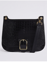 M&S Collection Faux Leather Buckle Saddle Across Body Bag