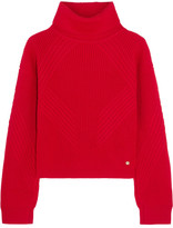 Versace Split-sleeve Ribbed Wool Turtleneck Sweater