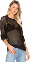Monrow Mesh Sweatshirt in Black. - size L (also in S)