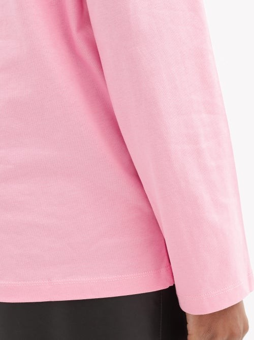 Thumbnail for your product : Charles Jeffrey Loverboy Logo-print Organic-cotton Long-sleeved T-shirt - Pink