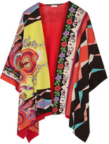 Etro Cotton-jacquard Poncho - Red
