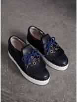 Burberry Kiltie Fringe Leather Sneakers