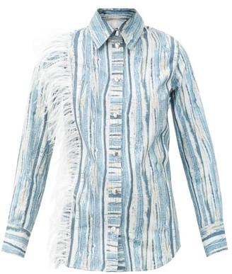 Thebe Magugu Feather-trimmed Shredded Denim-print Cotton Shirt - Blue Stripe