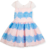 Zoë Ltd Cap-Sleeve Textured Tulle Fit & Flare Dress, Pink/Blue, Size 2-6X