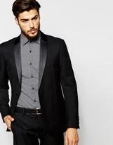 Antony Morato Tuxedo Suit Jacket With Satin Lapel In Super Slim Fit - Black