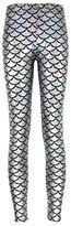 MuLuo Fish scale printing stretch thin shiny mermaid printing Leggings Pantyhose pants female M