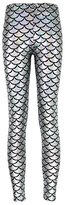 MuLuo Fish scale printing stretch thin shiny mermaid printing Leggings Pantyhose pants female S