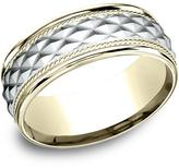 Ice 14K Two Tone 8mm Comfort-Fit Round Edge Cross Hatch Patterned Band