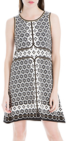 Max Studio Sleeveless Printed Ponte Dress, Black/White