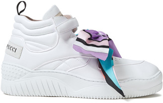 Emilio Pucci Bow-detailed Quilted Leather High-top Sneakers